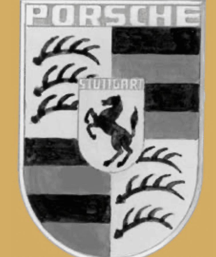 Le blason de Porsche depuis 1954 : les armoiries du Wurtemberg et la jument cabrée de Stuttgart.